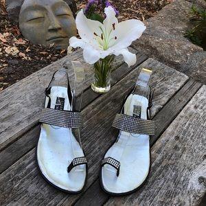 🌺 Stuart Weitzman Rhinestone/Black Sandals Sz. 9!